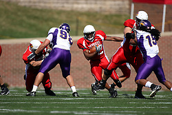 29 September 2007: Geno Blow makes a cut and heads through the line. In action between the Northern Iowa Panthers and the Illinois State Redbirds, the Panthers chewed up the Redbirds by a score of 23 - 13. Game action commenced at Hancock Stadium on the campus of Illinois State University in Normal Illinois..