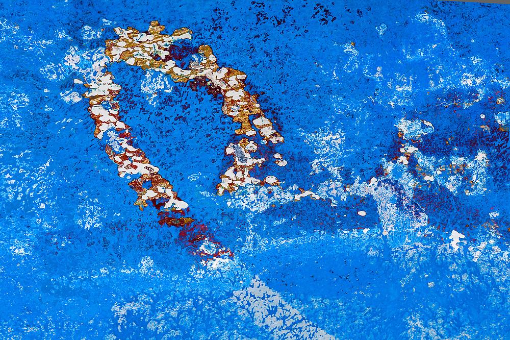 Chipped paint design on a boat rudder, Port Angeles Harbor, Washington, USA