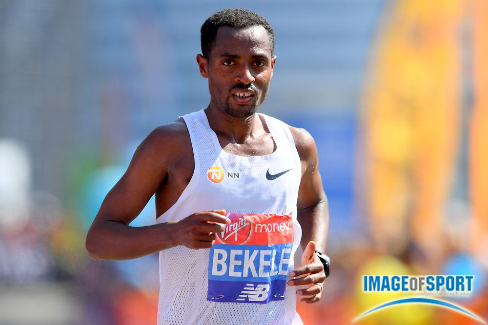 Kenenisa Bekele (ETH) places sixth in 2:08:53 in the London Marathon in London, Sunday, April 22, 2018. (Jiro Mochizuki/Image of Sport)