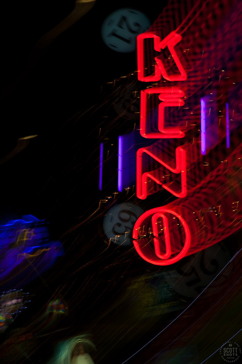 """""""Keno in Reno"""" - This Keno sign was photographed in a casino in Downtown Reno, Nevada. The effect was obtained in camera by long exposure mixed with intentional camera movement."""