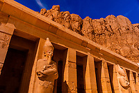 Ostrian statues, Temple of Queen Hatshepsut, near the Valley of the Kings, near Luxor, Egypt