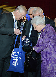 Queen Elizabeth II, accompanied by the Duke of York (left), during the opening of Pitch@Palace 6.0, an initiative set up by the Duke of York to guide, help and connect entrepreneurs with potential supporters, including CEOs, influencers, mentors, and business partners, in order to accelerate and amplify their businesses, at St James's Palace in London.
