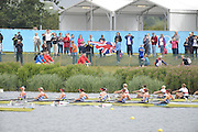 Eton Dorney, Windsor, Great Britain,..2012 London Olympic Regatta, Dorney Lake. Eton Rowing Centre, Berkshire[ Rowing]...Start, Women's Eights. GBR W8+, GER W8+ NED W8+. AUS W8+ Dorney Lake. 10:54:01  Tuesday  10:54:01   [Mandatory Credit: Peter Spurrier/Intersport Images].