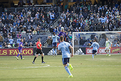 March 17, 2018 - New York, New York, United States - Amro Tarek (3) of Orlando City SC and Rodney Wallace (23) of NYC FC fight for ball during regular MLS game at Yankee stadium NYC FC won 2 - 0  (Credit Image: © Lev Radin/Pacific Press via ZUMA Wire)