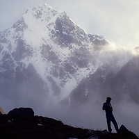 Base camp for an early mountaineering school for sherpas in the Khumbu region of Nepal, 1980.  Mt. Cholatse bkg.