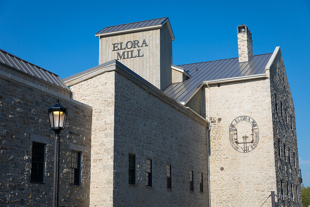 The Elora Mill Hotel and Spa is a luxury hotel and spa in a historic building that is perched over the Grand River in Elora, Ontario, Canada