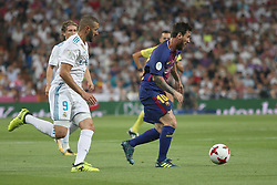 August 16, 2017 - Madrid, Spain - Benzena and Messi. Real Madrid defeated Barcelona 2-0 in the second leg of the Spanish Supercup football match at the Santiago Bernabeu stadium in Madrid, on August 16, 2017. (Credit Image: © Antonio Pozo/VW Pics via ZUMA Wire)