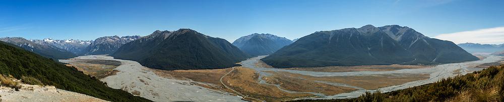 Panoramic View of Arthur's Pass, New Zealand.