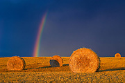 Bales and rainbow after storm at sunset<br />Cypress River<br />Manitoba<br />Canada