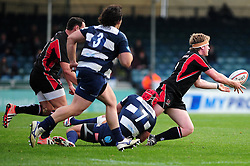 Bristol Rugby's James Merriman tackles Ulster Ravens' Ali Birch - Photo mandatory by-line: Dougie Allward/JMP  - Tel: Mobile:07966 386802 21/10/2012 - SPORT - Rugby Union - British and Irish Cup -  Bristol  - The Memorial Stadium - Bristol Rugby V Ulster Ravens