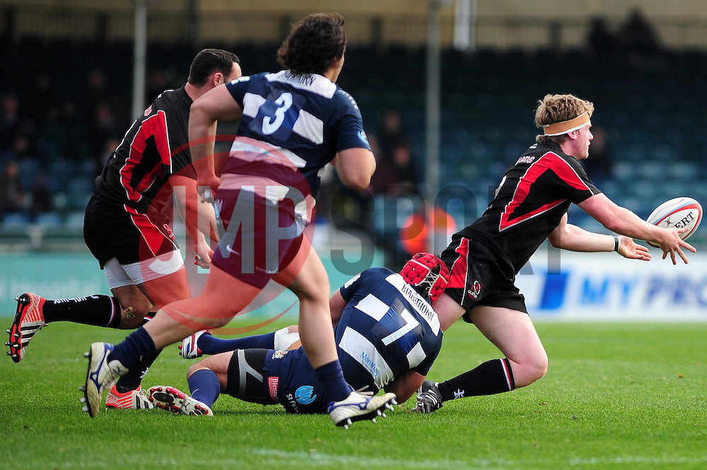 Bristol Rugby's James Merriman tackles Ulster Ravens' Ali Birch - Photo mandatory by-line: Dougie Allward/JMP  - Tel: Mobile:07966 386802 21/10/2012 - SPORT - Rugby Union - British and Irish Cup -  Bristol  - The Memorial Stadium - Bristol Rugby V Ulster Ravens