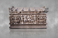 Side panel of a Roman relief garland  sculpted sarcophagus, style typical of Pamphylia, 3rd Century AD, Konya Archaeological Museum, Turkey. .<br /> <br /> If you prefer to buy from our ALAMY STOCK LIBRARY page at https://www.alamy.com/portfolio/paul-williams-funkystock/greco-roman-sculptures.html . Type -    Konya     - into LOWER SEARCH WITHIN GALLERY box - Refine search by adding a subject, place, background colour, museum etc.<br /> <br /> Visit our ROMAN WORLD PHOTO COLLECTIONS for more photos to download or buy as wall art prints https://funkystock.photoshelter.com/gallery-collection/The-Romans-Art-Artefacts-Antiquities-Historic-Sites-Pictures-Images/C0000r2uLJJo9_s0