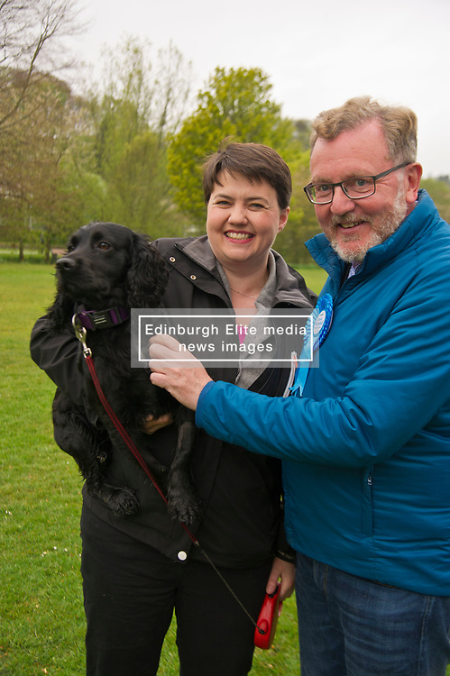 Pictured: Ruth Davson holds her dog Wilson as she joins David Mundell<br /> <br /> Scottish Tory leader Ruth Davidson and Scottish Secretary David Mundell took to the campaign trail in West Linton today.<br /> <br /> Ger Harley   EEm 13 May 2017