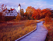 Point Iroquoise Lighthouse built in 1870 at the east end of Whitefish Bay and Lake Superior, Upper Peninsula, Bay Mills, Michigan.