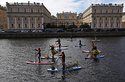 Participants of a festival of SUP surfing on the Fontanka River in St. Petersburg, Russia on July 8, 2017. More than 300 athletes and fans participated in a festival.(Photo by Andrey Pronin/Pacific Press) *** Please Use Credit from Credit Field ***