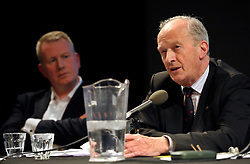 "© Licensed to London News Pictures. File Picture:16 March 2012; Bristol, UK; File picture of Lord Hunt (right) being listened to by Bristol Post editor Mike Norton, at the Bristol Branch of the National Union of Journalists annual Benn Debate with the title ""Hacked to bits; Restoring public trust in journalism"" at the Arnolfini gallery in Bristol. The debate centred on phone hacking, the Leveson inquiry, and trust and regulation of the press. The speakers were Lord Hunt, Christopher Jefferies, Richard Peppiatt, Thais Portilho-Shrimpton, Steve Brodie from BBC Bristol, Mike Norton editor of the Bristol Post.  The event was chaired by Donnacha Delong, President of the National Union of Journalists. 16 March 2012..Photo credit : Simon Chapman/LNP"