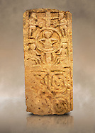 Anglo Saxon cross shaft fragment, 875-999. The cross depicts Christ seated in a halo with two figures above blowing trumpets and two figures below with a horn or a scroll, possibly a last judgement scene. Below are sculpted interlaced patterns. Lindisfarne Abbey Museum, Holy Island, Northumberland, England .<br /> <br /> Visit our MEDIEVAL ART PHOTO COLLECTIONS for more   photos  to download or buy as prints https://funkystock.photoshelter.com/gallery-collection/Medieval-Middle-Ages-Art-Artefacts-Antiquities-Pictures-Images-of/C0000YpKXiAHnG2k