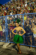 Paloma Bernardi posing for photos and talking to the fans before their final practice performance, Grande Rio Samba School from the Special Group, practices their Carnival procession in the Sambadrome, Rio de Janeiro, Brazil