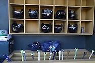 16 May 2016: Notre Dame's helmets and bats in the dugout. The University of North Carolina Tar Heels hosted the University of Notre Dame Fighting Irish in an NCAA Division I Men's baseball game at Boshamer Stadium in Chapel Hill, North Carolina.