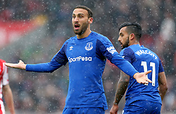 Everton's Cenk Tosun appeals to the referee