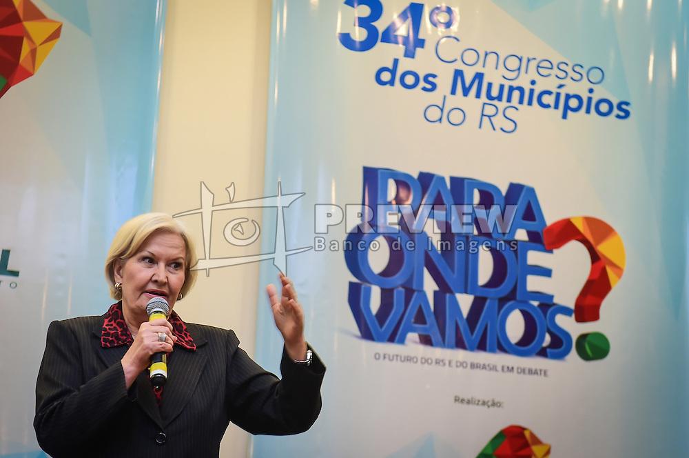 A Senadora e canaidata ao governado do Estado, Ana Amélia Lemos durante o 34º Congresso de Municípios, no Plaza São Rafael, em Porto Alegre. FOTO: Vinícius Costa/Agência Preview
