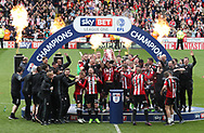 Sheffield Utd lift the League One trophy during the English League One match at Bramall Lane Stadium, Sheffield. Picture date: April 30th, 2017. Pic credit should read: Jamie Tyerman/Sportimage