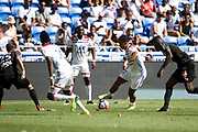 Depay Memphis of Lyon and Traore Bertrand of Lyon and Lefort Jordan of Amiens during the French championship L1 football match between Olympique Lyonnais and Amiens on August 12th, 2018 at Groupama stadium in Decines Charpieu near Lyon, France - Photo Romain Biard / Isports / ProSportsImages / DPPI