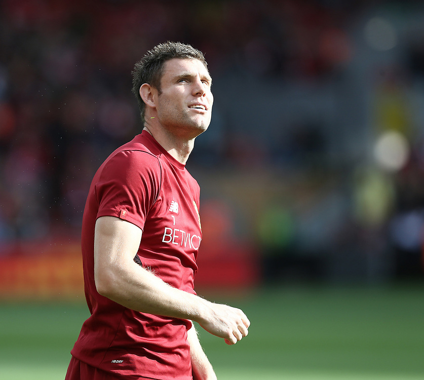 Liverpool's James Milner during the pre-match warm-up <br /> <br /> Photographer Rich Linley/CameraSport<br /> <br /> The Premier League - Liverpool v Manchester United - Saturday 14th October 2017 - Anfield - Liverpool<br /> <br /> World Copyright © 2017 CameraSport. All rights reserved. 43 Linden Ave. Countesthorpe. Leicester. England. LE8 5PG - Tel: +44 (0) 116 277 4147 - admin@camerasport.com - www.camerasport.com