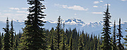 From Eagle Knoll Trail atop Mount Revelstoke National Park, see the Monashee Mountains, in British Columbia, Canada. These are part of the Columbia Mountains, a range west of the Rocky Mountain Trench. Panorama stitched from 4 images.