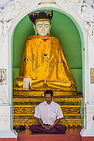 YANGON, MYANMAR - DECEMBER 16, 2016 : man praying at Shwedagon Pagoda Yangon (Rangoon) in Myanmar (Burma)