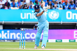 Jonny Bairstow of England gets another inside edge to miss the stumps and go for four runs - Mandatory by-line: Robbie Stephenson/JMP - 30/06/2019 - CRICKET - Edgbaston - Birmingham, England - England v India - ICC Cricket World Cup 2019 - Group Stage