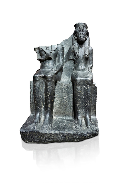 Ancient Egyptian statue of king Horemheb & his wife Mutnedjemet, granodiorite, New Kingdom, 18th Dynasty, (1319-1292 BC), Karnak, Temple of Amon. Egyptian Museum, Turin. white background.<br /> <br /> Queen Mutnedjemet is depicted in the role of Hathor, the sun god, embracing her husband. The statue is unfinished with details missing including the stripes in the Royal kilt, the wings of a vulture on the queens headdress and bound enemies on one side of the throne. On the back of the throne is a long inscription recording the coronation of Horemheb who was the general of Tutenkhamun before ascending to the throne. Drovetto collection. C 1379. .<br /> <br /> If you prefer to buy from our ALAMY PHOTO LIBRARY  Collection visit : https://www.alamy.com/portfolio/paul-williams-funkystock/ancient-egyptian-art-artefacts.html  . Type -   Turin   - into the LOWER SEARCH WITHIN GALLERY box. Refine search by adding background colour, subject etc<br /> <br /> Visit our ANCIENT WORLD PHOTO COLLECTIONS for more photos to download or buy as wall art prints https://funkystock.photoshelter.com/gallery-collection/Ancient-World-Art-Antiquities-Historic-Sites-Pictures-Images-of/C00006u26yqSkDOM