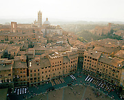 Piazza Del Campo from Mangia Tower, Siena, Italy.