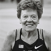 Slug: MASTERS<br /> Assignment ID: 30177851A<br /> Desk: SPT<br /> Date: 8/4/2015<br /> <br /> Flo Meiler, 81, of Shelburne, Vermont, poses for a portrait before the start of competition on the first day of the 80-84 age division women's combined events, or heptathlon, on August 4, 2015 at the Laurent Gérin stadium in Venissieux, France during the 2015 World Masters Athletics Championships. <br /> <br /> The Championships, which include track & field events (as well as race walking, marathon, cross country, half marathon and combined events) contested by athletes of 35 ages and over divided into 5-year age divisions, are being held at multiple locations in Lyon, France from August 4 through 16, 2015. <br /> <br /> The first day of heptathlon competition includes the 80 meter hurdles, high jump, shot put and the 200 meters. Combined events are scored using an international point table, and masters scores are age-graded so they are comparable across age ranges. <br /> <br /> Meiler's score of 5730 broke the published existing world record of 4623 points in the W80 division, set by Johnnye Valien of California. Meiler's score still needs to be ratified to be official. <br /> <br /> Meiler and Cristel Donley, 80, of Colorado Springs, Colorado were the only competitors in their age division. They were also the oldest competitors in their particular event.<br /> <br /> photo by Angela Jimenez for The New York Times<br /> photographer contact 917-586-0916
