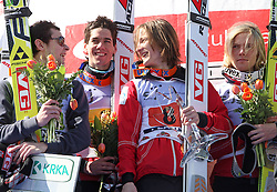 Winner team of Norway with Tom Hilde (8-1), Anders Jacobsen (8-2), Anders Bardal (8-3) and Bjoern Einar Romoeren (8-4) celebrate their medals won in team event of FIS Ski jumping World Cup finals in Planica, Slovenia. Team event of FIS Ski jumping World cup were held in Planica, Slovenia, on K215 ski flying hill on March 15, 2008. (Photo by Vid Ponikvar / Sportal Images)./ Sportida)