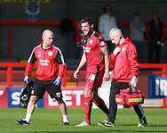 Crawley Town central defender Jon Ashton leaves the field due to injury during the Sky Bet League 2 match between Crawley Town and Accrington Stanley at the Checkatrade.com Stadium, Crawley, England on 26 September 2015. Photo by Bennett Dean.