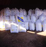 Large white bags of Nitraprill nitrogen fertiliser Britain
