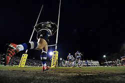 The Bath Rugby team run onto the field for the second half - Photo mandatory by-line: Patrick Khachfe/JMP - Mobile: 07966 386802 24/04/2015 - SPORT - RUGBY UNION - Bath - The Recreation Ground - Bath Rugby v London Irish - Aviva Premiership