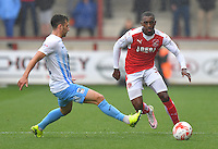 Fleetwood Town's Amari'i Bell skips past Coventry City's James Sterry<br /> <br /> Photographer Dave Howarth/CameraSport<br /> <br /> The EFL Sky Bet League One - Fleetwood Town v Coventry Town - Saturday 3 September 2016 - Highbury Stadium - Fleetwood<br /> <br /> World Copyright © 2016 CameraSport. All rights reserved. 43 Linden Ave. Countesthorpe. Leicester. England. LE8 5PG - Tel: +44 (0) 116 277 4147 - admin@camerasport.com - www.camerasport.com