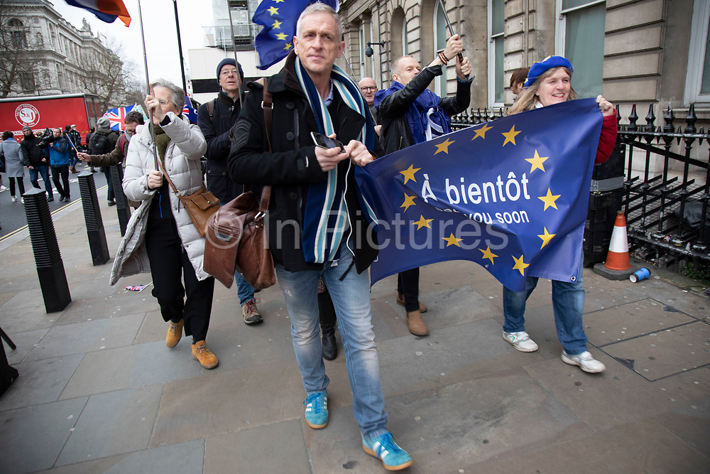 Anti Brexit 'Remainers' protest in Westminster on Brexit Day, the day the UK leaves the European Union on 31st January 2020 in London, England, United Kingdom. At 11pm on Friday 31st January 2020, The UK and N. Ireland will officially leave the EU and go into a state of negotiations as to the future arrangement and trade agreement, while adhering to EU rules until the end of 2020.