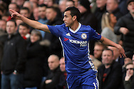 Pedro of Chelsea celebrates after scoring Chelsea's second goal. The Emirates FA Cup 4th round match, Chelsea v Brentford at Stamford Bridge in London on Saturday 28th January 2017.<br /> pic by Steffan Bowen, Andrew Orchard sports photography.