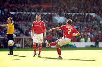 Photo: Leigh Quinnell.<br /> Nottingham Forest v Bristol City. Coca Cola League 1. 21/10/2006. Forests Nicky Southall scores from a free kick.