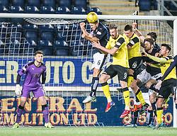 Falkirk's Will Vaulks heads clear. Falkirk 2 v 0 Livingston, Scottish Championship game played 29/12/2015 at The Falkirk Stadium.