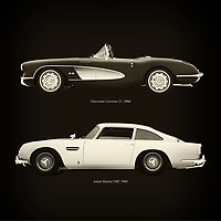For the lover of old classic cars, this combination of a Chevrolet Corvette C1 1960 and Aston Martin DB5 1963 is truly a beautiful work to have in your home.<br /> The classic Chevrolet Corvette C1 and the beautiful Aston Martin DB5 are among the most beautiful cars ever built.<br /> You can have this work printed in various materials and without loss of quality in all formats.<br /> For the oldtimer enthusiast, the series by the artist Jan Keteleer is a dream come true. The artist has made a fine selection of the very finest cars which he has meticulously painted down to the smallest detail. – –<br /> -<br /> <br /> BUY THIS PRINT AT<br /> <br /> FINE ART AMERICA<br /> ENGLISH<br /> https://janke.pixels.com/featured/chevrolet-corvette-c1-1960-and-aston-martin-db5-1963-jan-keteleer.html<br /> <br /> WADM / OH MY PRINTS<br /> DUTCH / FRENCH / GERMAN<br /> https://www.werkaandemuur.nl/nl/shopwerk/Chevrolet-Corvette-C1-1960-en-Aston-Martin-DB5-1963/756032/132?mediumId=1&size=60x60<br /> –