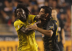 July 26, 2017 - Chester, PA, United States of America - Philadelphia Union Midfielder ILSON PEREIRA DIAS (25)  battles Columbus Crew SC Defender LALAS ABUBAKAR (17) for the ball in the second half of a Major League Soccer match between the Philadelphia Union and Columbus Crew SC Wednesday, July. 26, 2017, at Talen Energy Stadium in Chester, PA. (Credit Image: © Saquan Stimpson via ZUMA Wire)