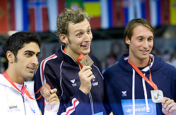 Filippo Magnini, 3rd place (ITA), winner Amaury Leveaux (FRA) and Fabien Gilot, 2nd place (FRA) at ceremony after Men's 100m Freestyle at 3rd day of LEN European Short Course Swimming Championships Rijeka 2008, on December 13, 2008,  in Kantrida pool, Rijeka, Croatia. (Photo by Vid Ponikvar / Sportida)