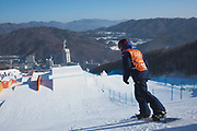 Katie Ormerod from Great Britain during the snowboard slopestyle practice on the 7th February 2018 at Phoenix Snow Park for the Pyeongchang 2018 Winter Olympics in South Korea