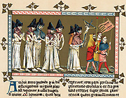 Flagellants or Brothers of the Cross in Netherlands town of Doornik 1349 scourging themselves as they walk through streets in order to free world from Black Death (Bubonic Plague). Chromolithograph after  'Chronica Aegidii Li Muisius'.