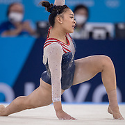 TOKYO, JAPAN - JULY 29: Sunisa Lee of the United States performs her routine on the floor during her gold medal performance in the All-Around Final for Women at Ariake Gymnastics Centre during the Tokyo 2020 Summer Olympic Games on July 29, 2021 in Tokyo, Japan. (Photo by Tim Clayton/Corbis via Getty Images)