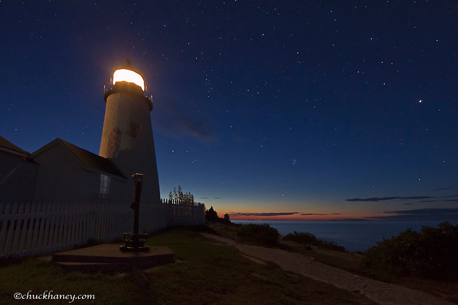 Night time sky at Pemaquid Point Lighthouse in New Harbor, Maine, USA